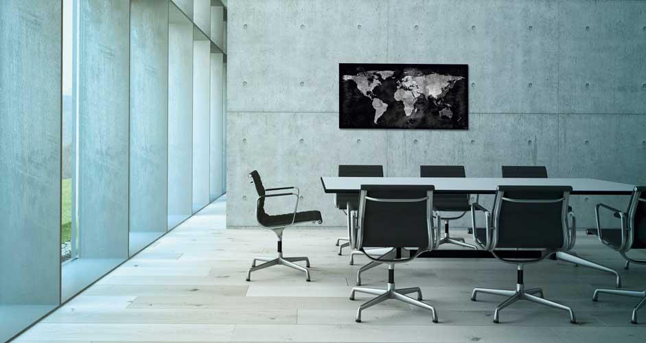 Glas-Magnetboards mit Weltkarten-Motiv