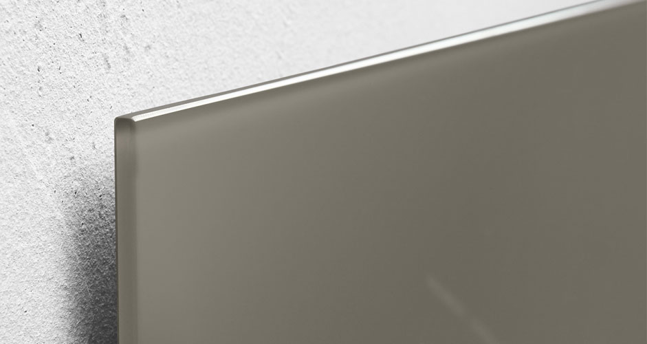 Glas-Magnetboard artverum taupe schwebende Aufhängung - Sigel