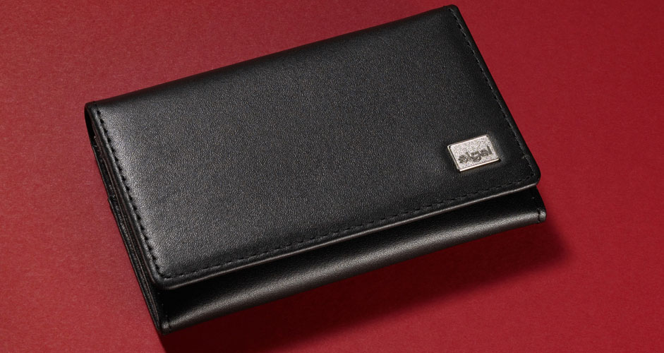Business card wallet leder